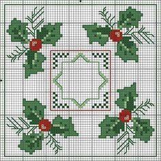 Ponto cruz, natal, toalha de mesa