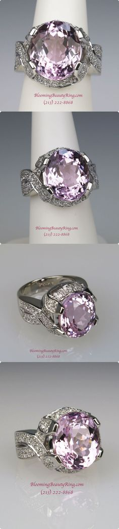 An enormous 10 carat Pink Kunzite Ring handcrafted in 14 karat gold.    What a pretty ring!  http://www.BloomingBeautyRing.com