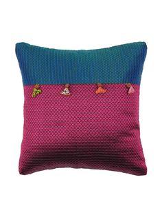 Buy Burgundy Teal Fuschia Khunn Patch Gubbi Cushion Cover 12In X Silk Home Textiles Cushions Online at Jaypore.com