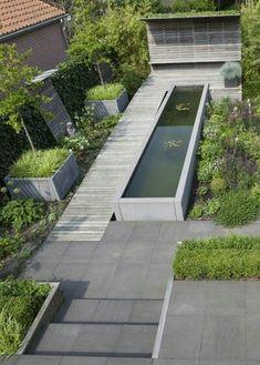 Photo: Henny van Belkom // Garden design by Terraforma. Contemporary Garden Design, Small Garden Design, Landscape Design, Rooftop Garden, Garden Pool, Water Garden, Back Gardens, Small Gardens, Outdoor Gardens