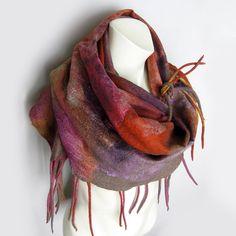 Felted Scarf Cobweb Wool Silk Multicolor by avivaschwarz on Etsy, $115.00