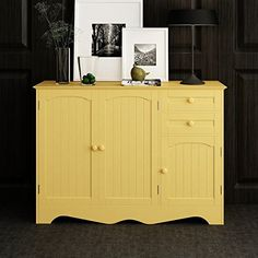 HOME BI Wood Storage Cabinet,Kitchen Buffet,Buffet Table,Free Standing Home  Furniture 3 Drawers And 3 Cabinets For Additional Storage Space ,Yellow  Color   ...