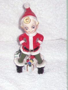 Vintage Christmas Pixie Elf Santa Figurine Josef Original Ornament Decoration Japan 6.25 inches. $65.00, via Etsy.