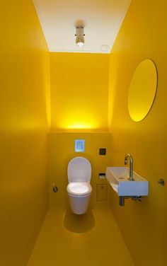 20 Amazing Creative Small Bathroom Design Ideas Maybe not all the yellow but love this colour and the uplighting Toilet And Bathroom Design, Restroom Design, Bathroom Tile Designs, Bathroom Interior Design, Modern Bathroom, Modern Room, Bathroom Ideas, Toilette Design, Beautiful Small Bathrooms