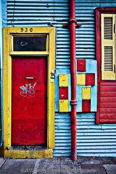 door in primary colors - La Boca, Buenos Aires, Argentina Entrance Doors, Doorway, Old Doors, Windows And Doors, Portal, Door Images, When One Door Closes, Fotografia Macro, Grades