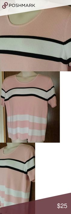 Plus size pullover sweater by Crazy Horse Sporty but feminine pullover rib knit sweater in pink and white with black accent stripes. Round neck, short sleeves, and open bottom. In excellent used condition. Crazy Horse by Liz Claiborne Sweaters