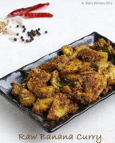 Raw banana dry curry with freshly ground special masala - its really spicy and flavorful! Healthy Crockpot Recipes, Spicy Recipes, Curry Recipes, Vegetable Recipes, Vegetarian Recipes, Banana Curry, Raw Banana, Banana Recipes Indian, Indian Food Recipes