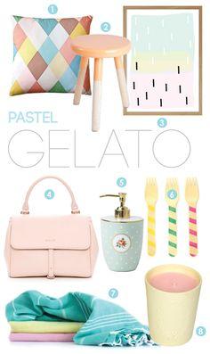 Pretty pastel gelato colours on the Adore Home magazine blog  http://www.adoremagazine.com/blog/2013/1/30/pastel-gelato.html