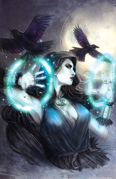 The Morrigan by =Csyeung on deviantART - In my campaign, could be a Sister (or Avatar) of the Raven Queen. Or just a sorceress of some kind.