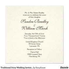 Traditional Ivory Wedding Invitation  50% off
