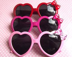 Cute heart shaped sunglasses in pastel pink, hot pink and red on Etsy by funflashyfashions