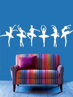Wall Decal Vinyl Sticker Decals Art Decor Design Set 6 Ballerina Gymnastics Ballet Dancer Acrobatics Dance