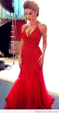 Red glitter long dress