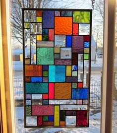Energy Stained Glass Window Panel Abstract Geometric EBSQ Artist | stainedglassheirlooms - Glass on ArtFire