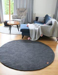 Modern Dark Gray Round Rug Area Nursery Skandinavische Teppich Rund Alfombra Trapillo Enfant Large Crochet Floor