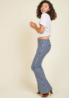 Record Swap Savvy Pants. Your flare for past playlists is unwavering, and in these striped bell bottoms, youre ready to snag some rare finds. #blue #modcloth
