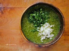 Every Mexican household has their own slight variation of fresh salsa verde. The basics are tomatillo, jalapeños, onions, garlic and cilantr...