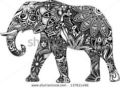 Elephant Tattoo Design! Loooove this!  Exactly what I was imagining
