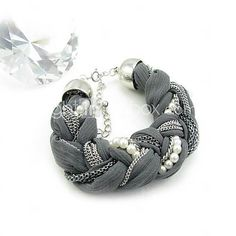USD $ 6.99 - Wire Cloth Woven Pearl Bracelet 16CM