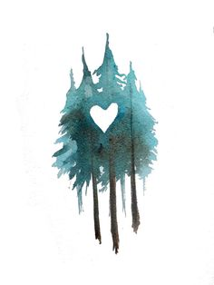 Forest Love  Watercolor heart trees art print by WITandWANDERCo