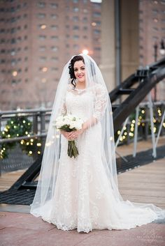 Wedding pictures of bride at Canal Side in Buffalo NY