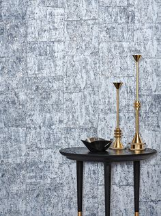 Gilded Cork wallcovering by Instyle - A distinctive urban wallcovering featuring a natural cork texture with metallic leaf. Lunar Side Table by Space Copenhagen from Own World and Tom Dixon Candle Holders from 1810 Woollahra.