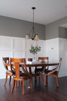 How to define a space with board and batten. A full tutorial for a budget friendly board and batten wall. This completely transformed the look of this dining room. Dining Room Walls, Dining Room Design, Dining Room Furniture, Living Room, Open Concept Home, Layout, Board And Batten, Family Room Design, Dining Room Lighting