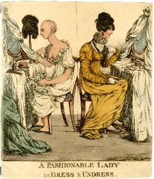 A fashionable lady in dress & undress  etching .After Robert Dighton, 1807