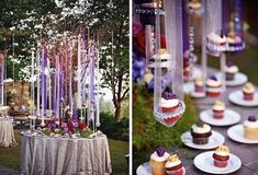 dramatic dangling ribbon crystal cupcake trees perfect for baby shower