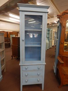 Vintage Bathroom Storage Cabinet Vintage Pale Blue Tall Narrow Display Cabinet with Glass Drawer Shelves, Cabinet Drawers, Storage Cabinets, Tall Cabinet Storage, Cupboards, Linen Cabinet, China Cabinets, Drawer Storage, Glass Bathroom Shelves