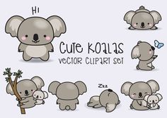 Illustration Enfant Premium Vector Clipart - Kawaii Koala - Cute Koalas Clipart Set - High Quality V. Cute Animal Drawings, Kawaii Drawings, Cute Drawings, Illustration Mignonne, Cute Illustration, Kawaii Doodles, Cute Doodles, Griffonnages Kawaii, Planner Stickers