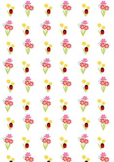 FREE flower & ladybug pattern paper (- cute wrap for nursery gifts ^^)