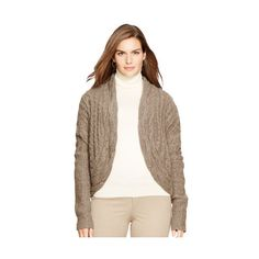 Ralph Lauren Lauren Woman Cabled Wool-Alpaca Sweater ($125) ❤ liked on Polyvore featuring plus size fashion, plus size clothing, plus size tops, plus size sweaters, wool cable knit sweater, cable knit sweater, long cable knit sweater, alpaca sweaters and chunky cable knit sweater