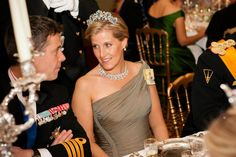 Sophie of Wessex the smaller Brazilian Aquamarine Tiara and diamond necklace borrowed for QE2  at the royal wedding in Luxembourg