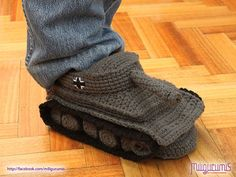 Tiger 1 Tank   Panzer Crocheted Slippers by miligurumis on Etsy