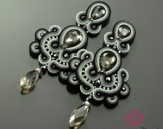 Clip on long gray soutache earrings unique sparkling earrings crystal earrings long graphite black glossy post orecchini soutache elegant