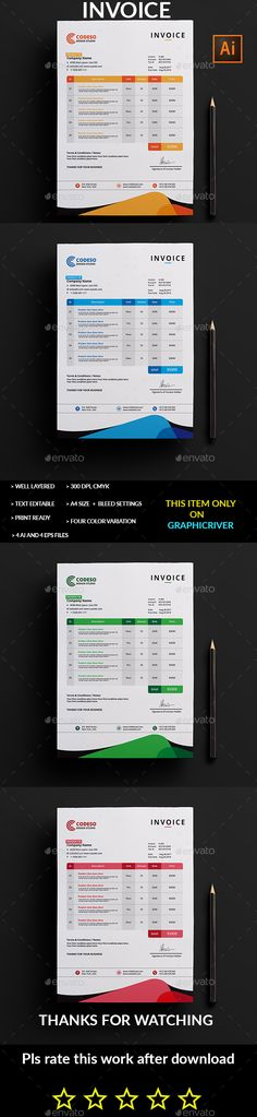 Invoice Proposals, Template and Business design - product invoice