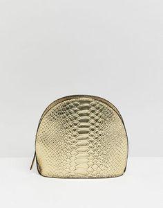 ASOS DESIGN leather metallic croc half moon cross body bag