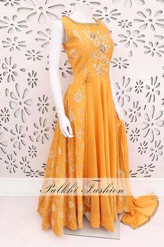 PalkhiFashion Exclusive Light Orange Soft Silk Outfit with Elegant Work. Indian Designer Outfits, Designer Dresses, Designer Clothing, Indian Dresses, Indian Outfits, Indian Clothes, Long Anarkali Gown, Anarkali Suits, Latest Salwar Kameez Designs
