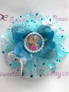 Anna Elsa or Anna & Elsa Hair Bow Attached to by SweetandCuteBows, $14.50