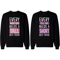 BFF Gifts Tall and Short Best Friend Matching Sweatshirts for Best Friends and other apparel, accessories and trends. Browse and shop related looks.