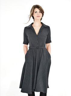 Figurnahes, dunkelgraues, klassisches Kleid in schmeichelnder X-Linie / dark grey, form fitting dress by Femkit via DaWanda.com