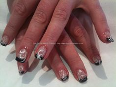 Black tips and White swirl nail art