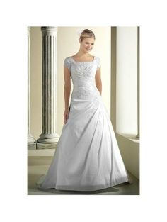 A-Line Scoop Empire Waist Pleated Long Taffeta Train White Modest Wedding Dresses