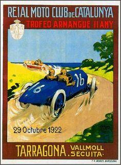 1922-Catalunya-Spain-Reial-Moto-Automobile-Car-Race-Racing-Advertisement-Poster