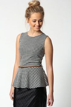Peplum Houndstooth/Dogstooth from Boohoo $32 + 7% cash back http://www.studentrate.com/studentrate/itp/get-itp-student-deals/Boohoo-com-Student-Discounts--/0