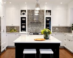 floor, white/dar cabinets  Kitchen White Upper Cabinets Design, Pictures, Remodel, Decor and Ideas - page 6