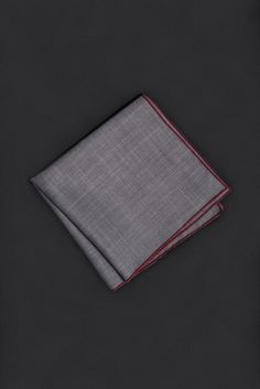 Dark Gray Pocket Square with Red Contrast