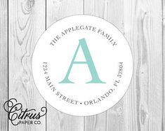 "Family Script Monogram -  Return Address Labels - 2"" Round Stickers - Glossy or Matte - Teal Cursive Whimsical Preppy Birthday Coordinating"