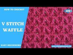 V Stitch Waffle Crochet Pattern | Crafting Happiness - YouTube Crochet Sock Pattern Free, Chevron Crochet Patterns, Crochet Basket Pattern, Knit Patterns, V Stitch Crochet, Crochet Stitches, Crochet Instructions, Crochet Tutorials, Crochet Projects